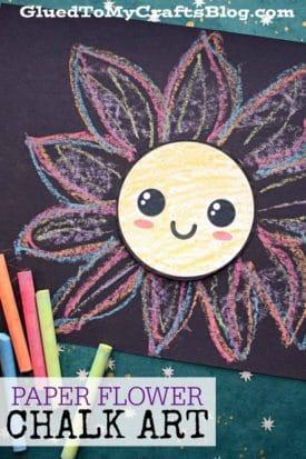 Paper Flower Chalk Art For Kids