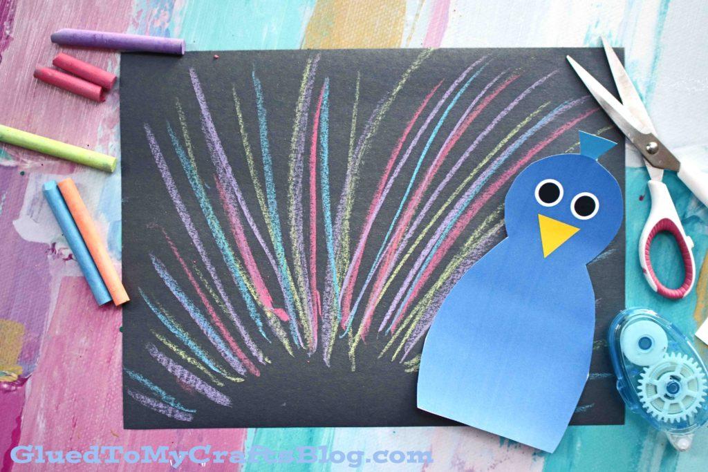 Paper Chalk Art Peacock - Kid Craft