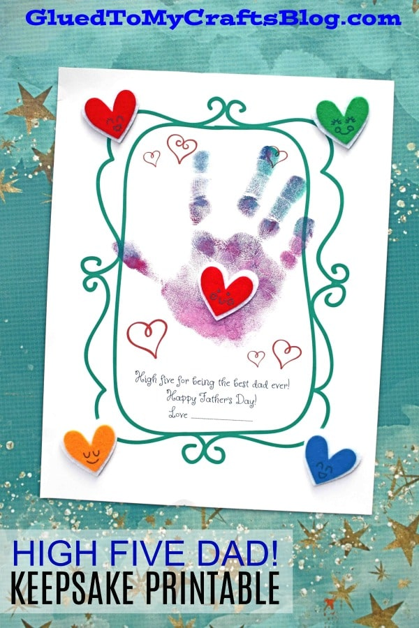 """Handprint """"High Five To Dad"""" Craft Idea For Kids To Make Their Father"""