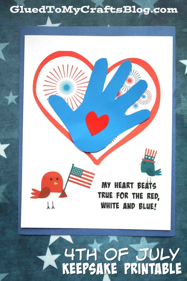 Handprint 4th of July Keepsake Printable For Kids