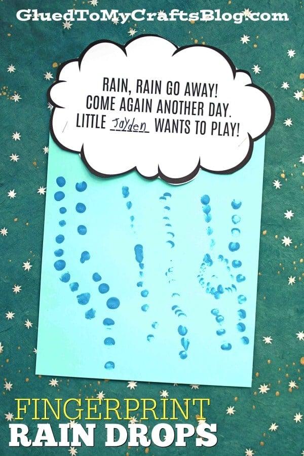Fingerprint Raindrops - Rain Go Away Craft Idea For Kids
