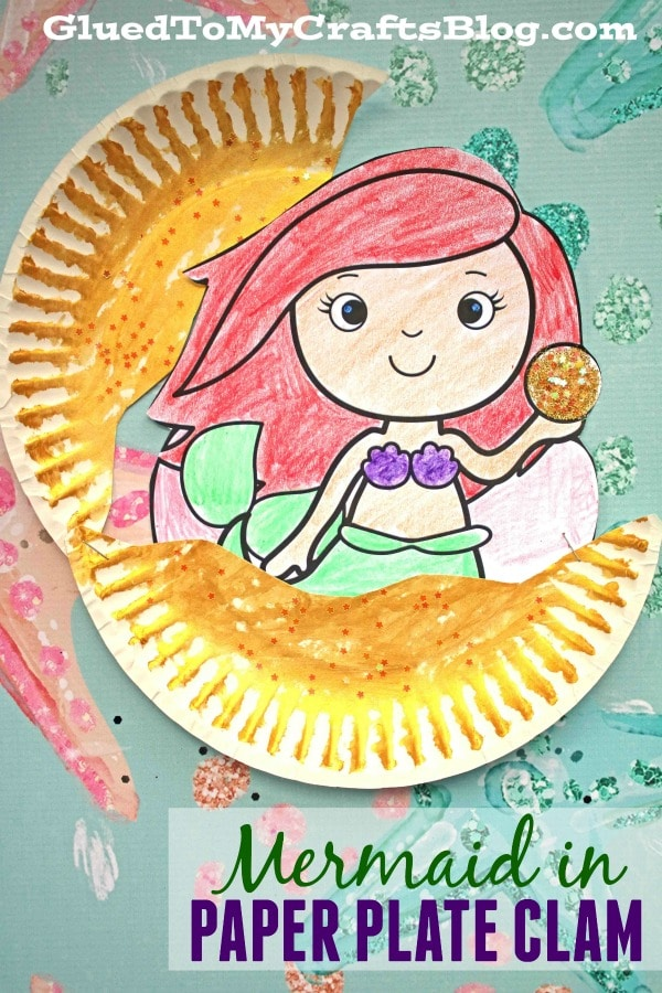 Mermaid In Paper Plate Clam - Kid Craft