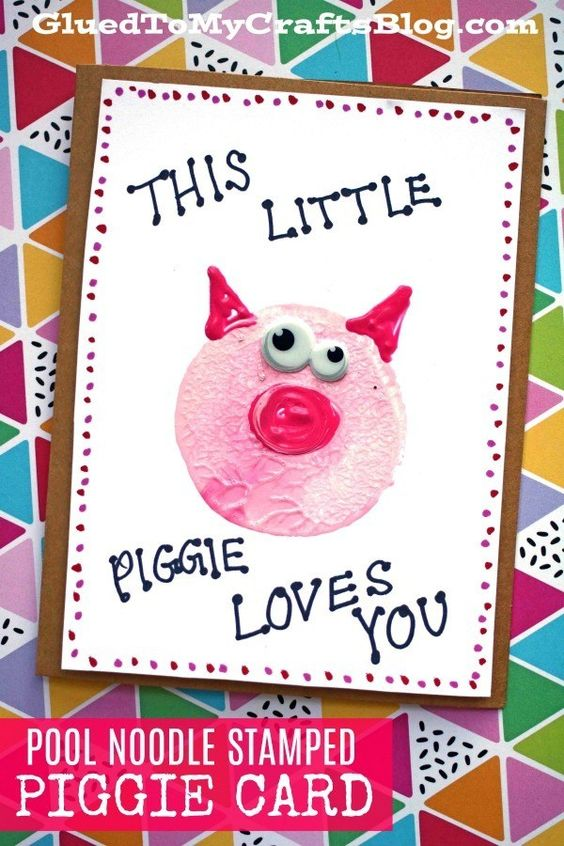 Stamped Piggie Card - just fill in the hole for his nose!