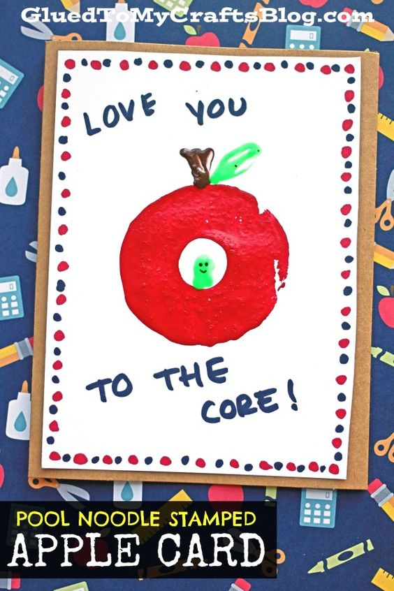 Pool Noodle Stamped Apple Card - great for a back-to-school idea!