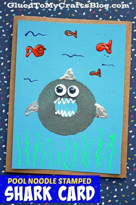 Stamped Shark Card - I love this idea for #sharkweek