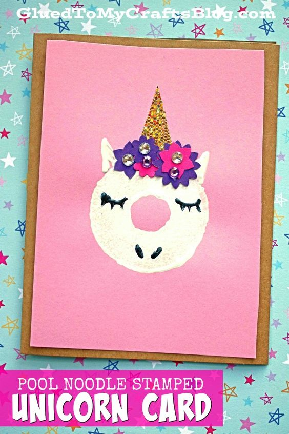 Stamped Unicorn Card - a little white craft paint and paper flowers