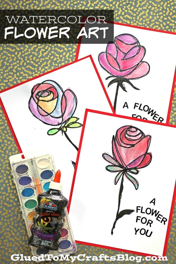 Paper & Watercolor Flower Art Project For Kids To Make