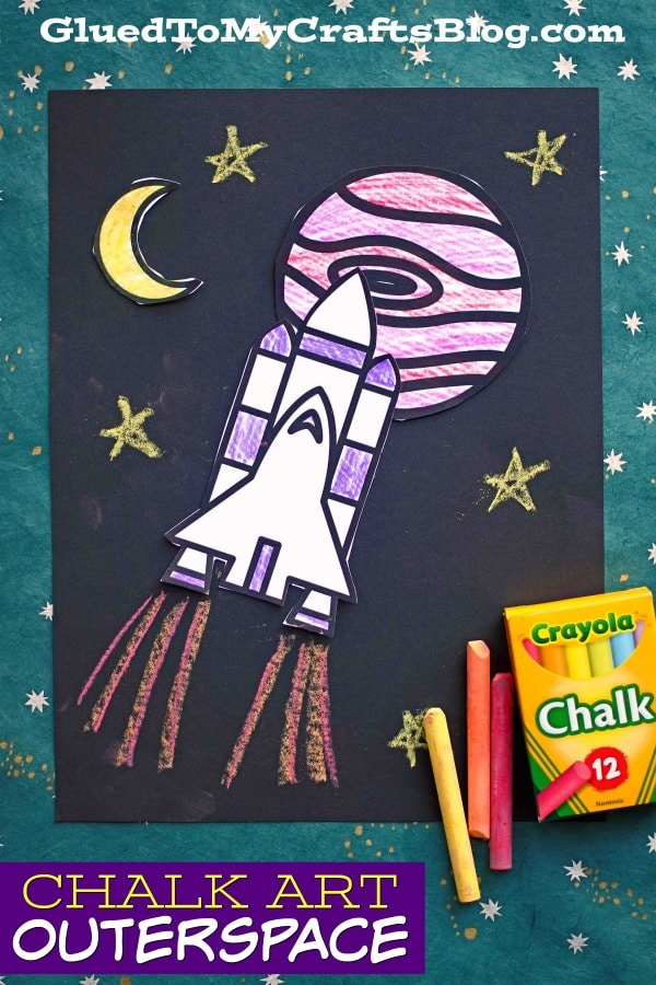Paper & Sidewalk Chalk Art Outer Space Craft For Kids