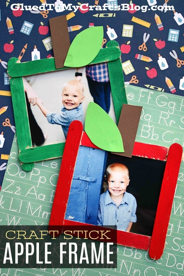 Back To School - Popsicle Stick Apple Frame Craft