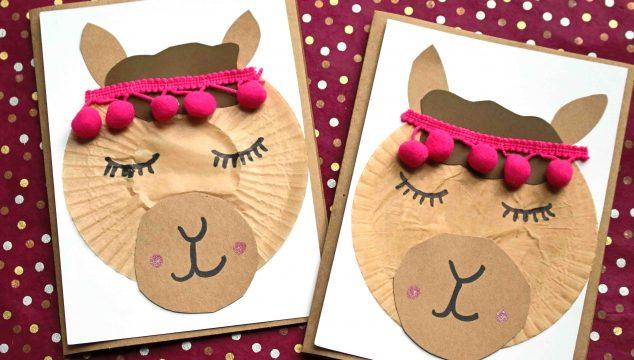 Cupcake Liner Llama Friend Card - Kid Craft