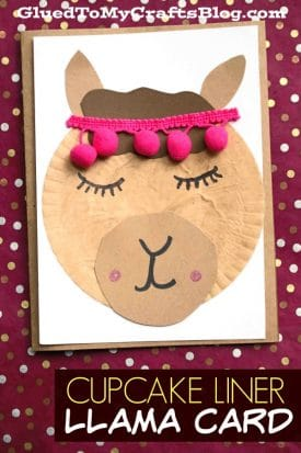 Cupcake Liner Llama Friend Card - Kid Craft