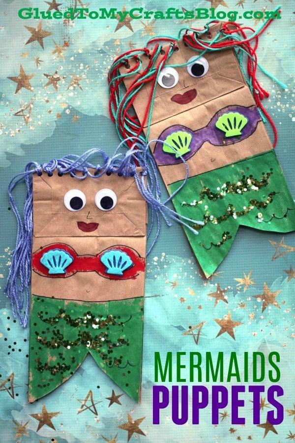 Paper Bag Mermaid Puppet - Under The Sea Kid Craft Idea