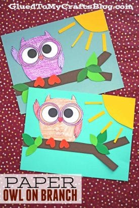 Paper Owl On Branch Craft For Kids To Make
