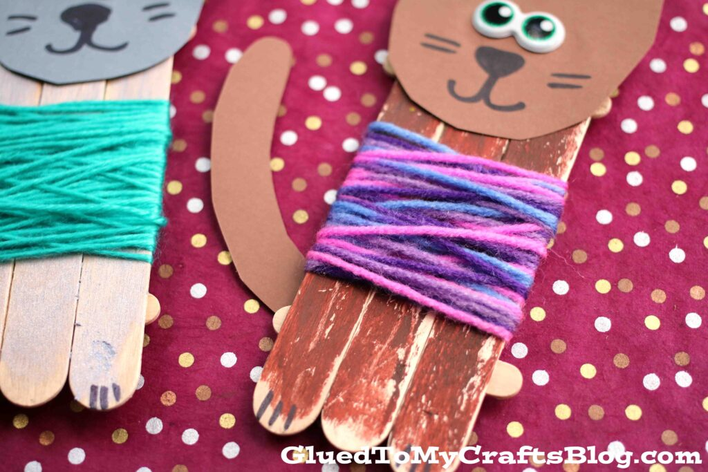 Popsicle Stick Cats In Sweaters - Kid Craft