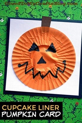 Cupcake Liner Pumpkin Card - Kid Craft Idea