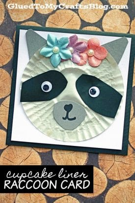 Cupcake Liner Raccoon Card - Kid Craft GluedToMyCrafts