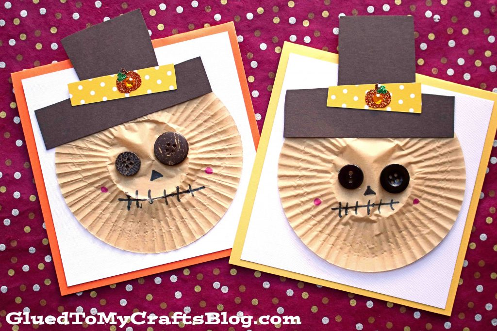 Cupcake Liner Scarecrow Cards
