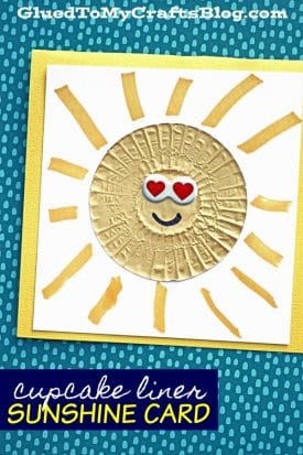 Cupcake Liner Sunshine Card - Kid Craft GluedToMyCrafts