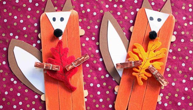 Craft Stick Leaf Holding Fox - Kid Craft
