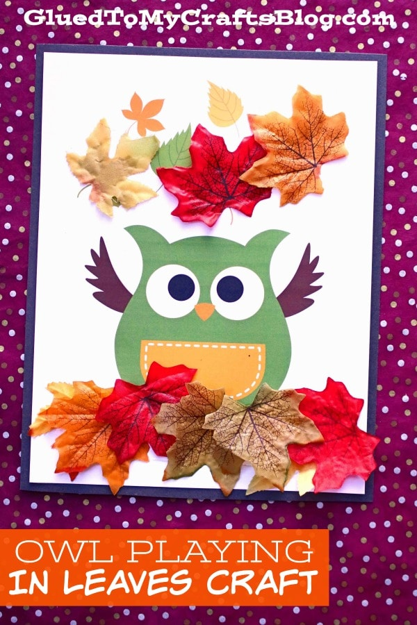 Owl Playing In Leaves - Preschool Craft