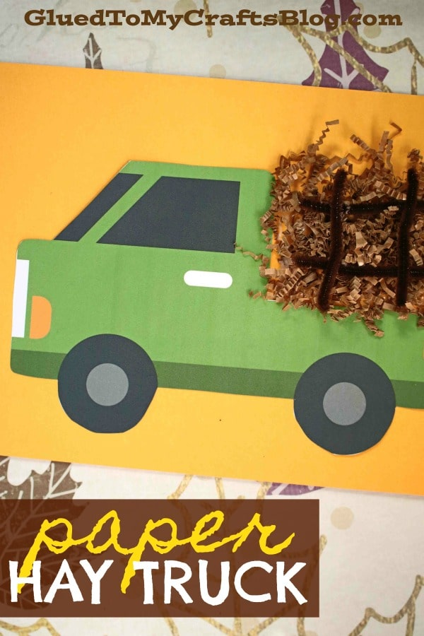 Paper Hay Truck - Fall Kid Craft Idea Using Crinkle Paper