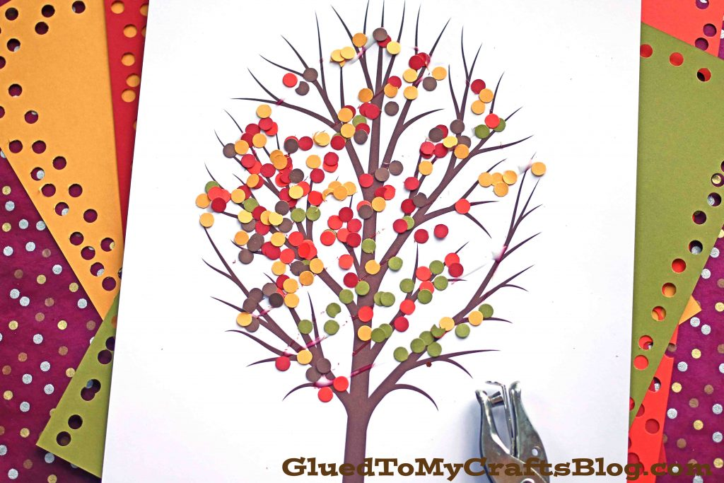 Paper Punch Confetti Fall Tree - Kid Craft Idea