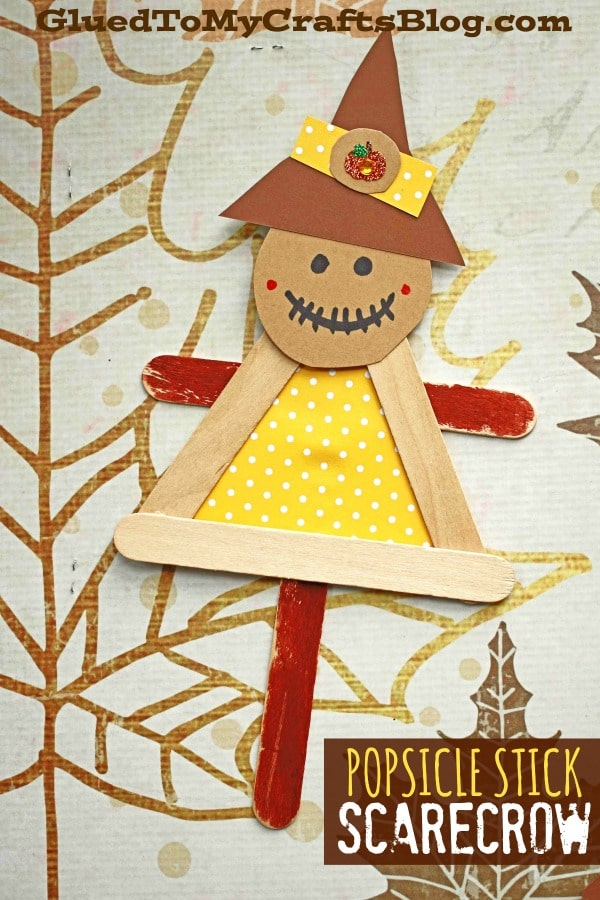 Popsicle Stick Scarecrow Puppet Friend - Kid Craft