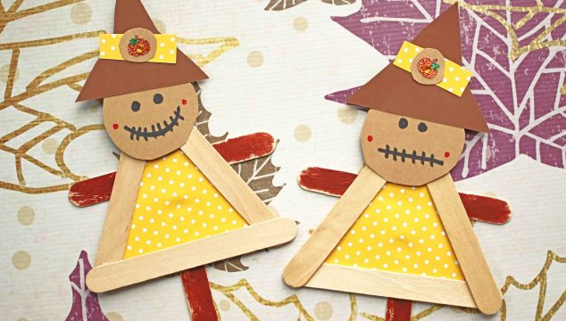 Popsicle Stick Scarecrow Puppets - Kid Craft