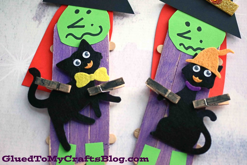 Popsicle Stick Witch & Black Cat Craft Idea