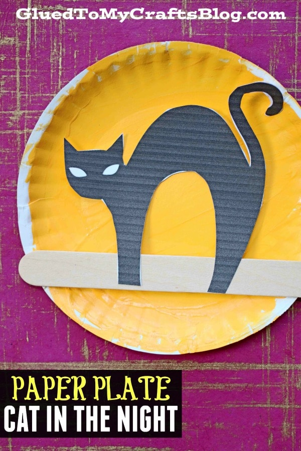 Black Cat In The Night - Paper Plate Moon Kid Craft Idea