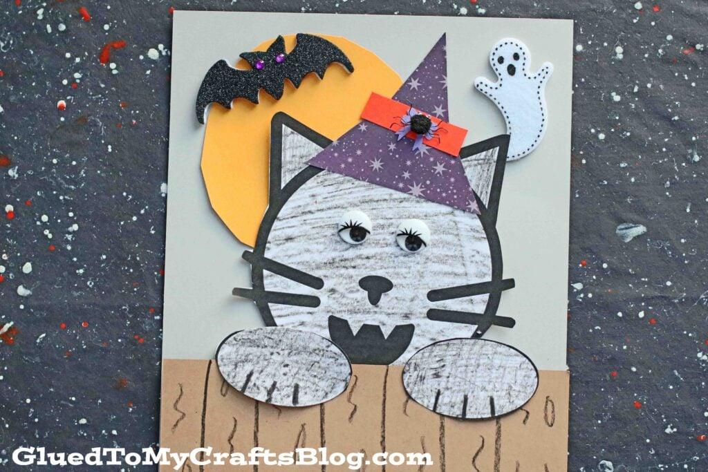 Halloween Black Cat On Fence - Kid Craft