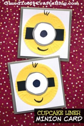 Cupcake Liner Minion Cards - Kid Craft Idea