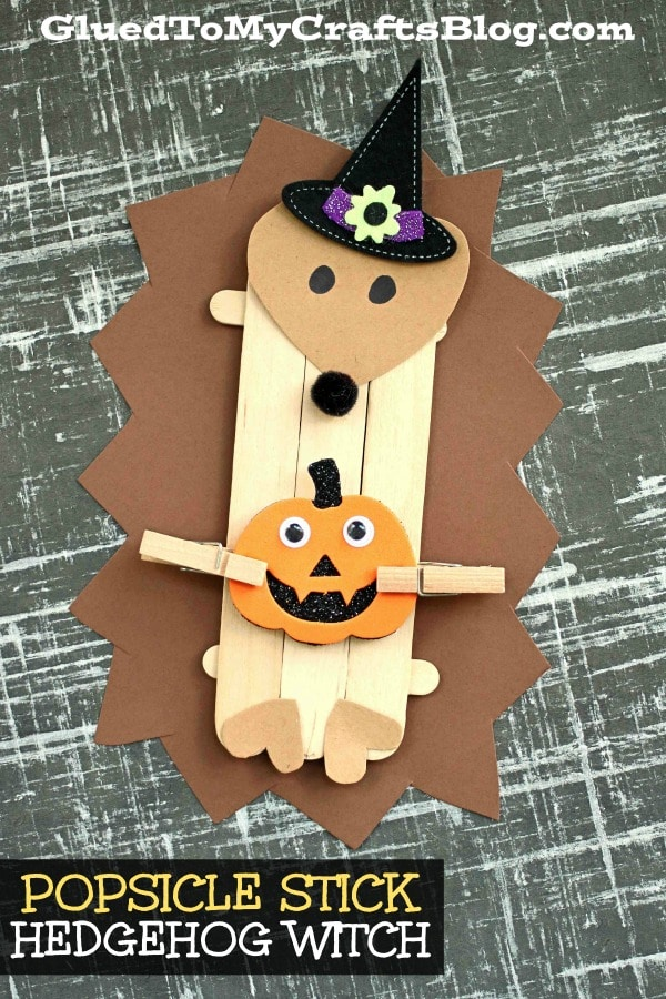 Popsicle Stick Hedgehog Witch Puppet - Kid Craft