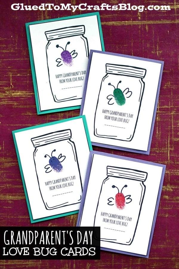 Thumbprint Grandparent's Day Love Bug Cards - Kid Craft
