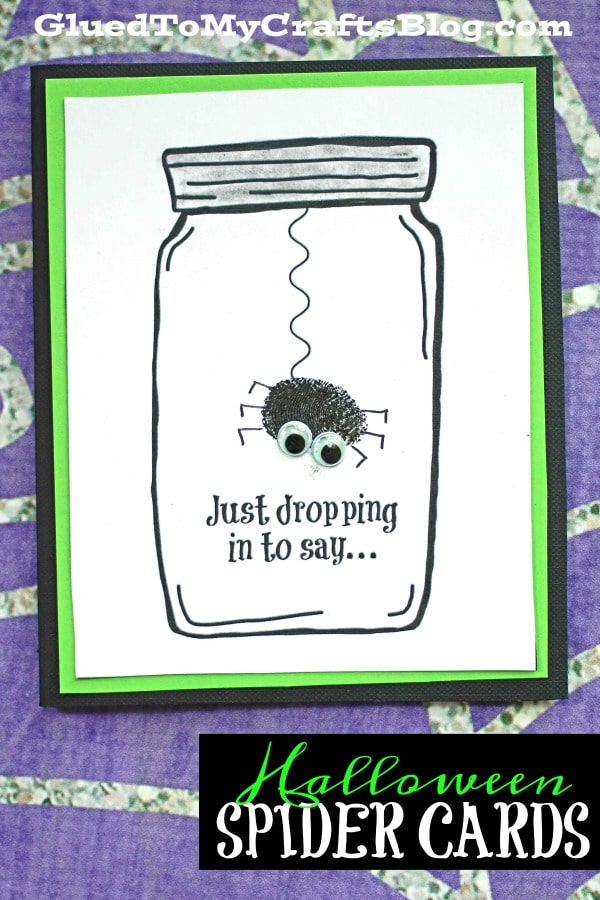 Thumbprint Spider Halloween Mason Jar Card Craft For Kids