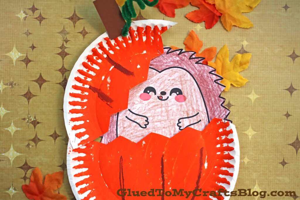 Paper Plate Hedgehog In Pumpkin Craft