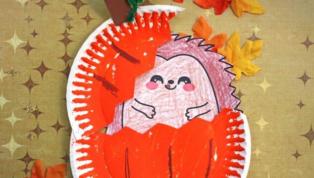 Paper Plate Hedgehog In Pumpkin Craft