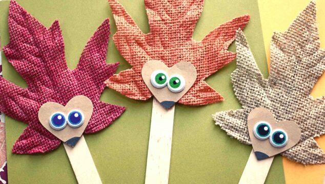 Leaf Hedgehog Puppets - Fall Kid Craft