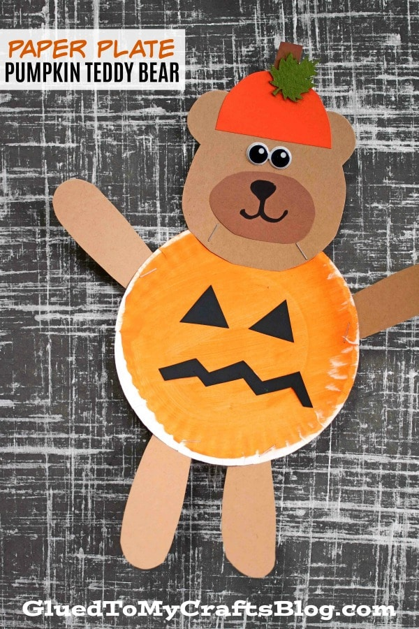 Pumpkin Jack-O-Lantern Teddy Bear - Kid Craft