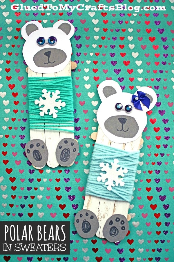 Popsicle Stick Polar Bears In Sweaters - Kid Craft