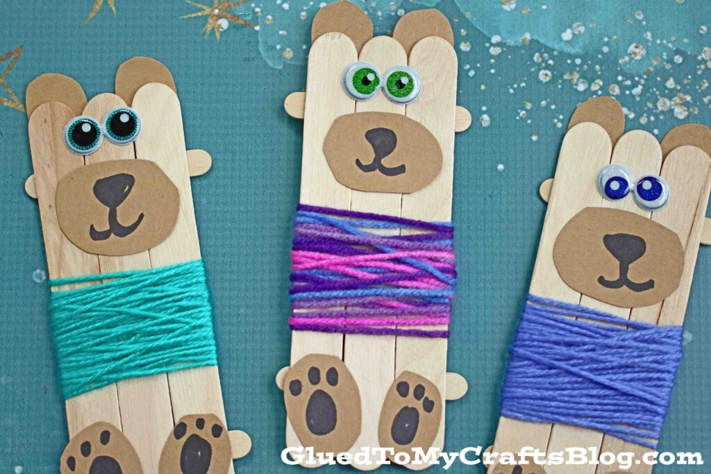 Popsicle Stick Bears In Sweaters - Kid Craft