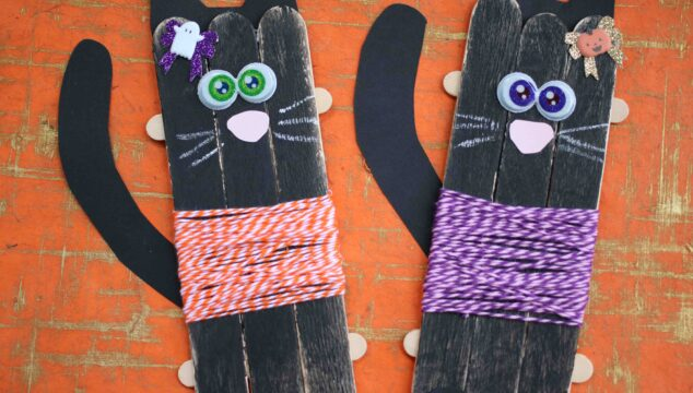 Craft Stick Black Cats - Kid Craft