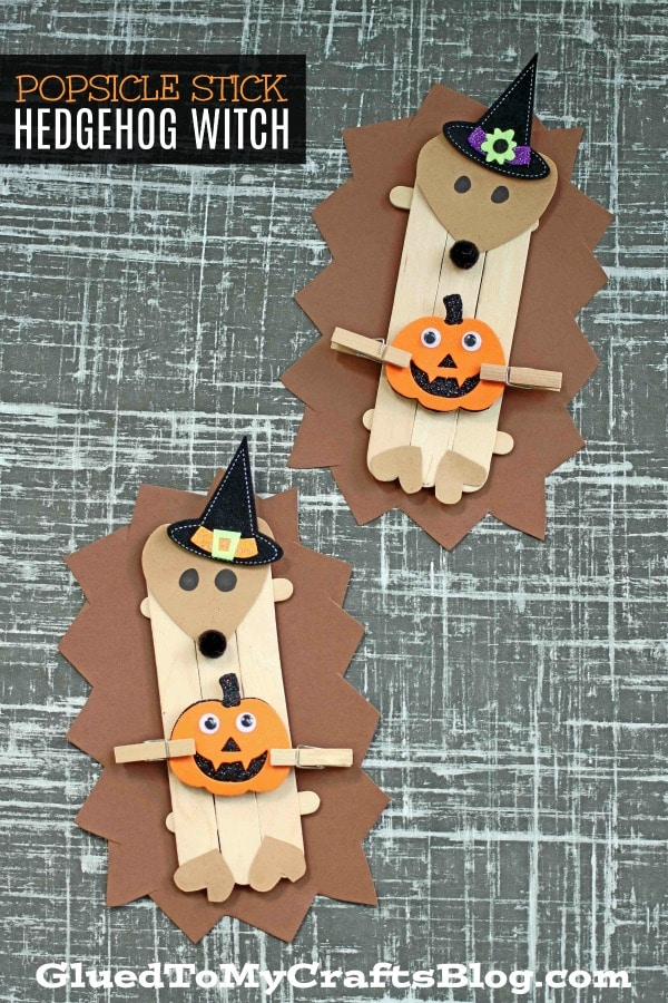 Popsicle Stick Hedgehog Witch - Kid Craft