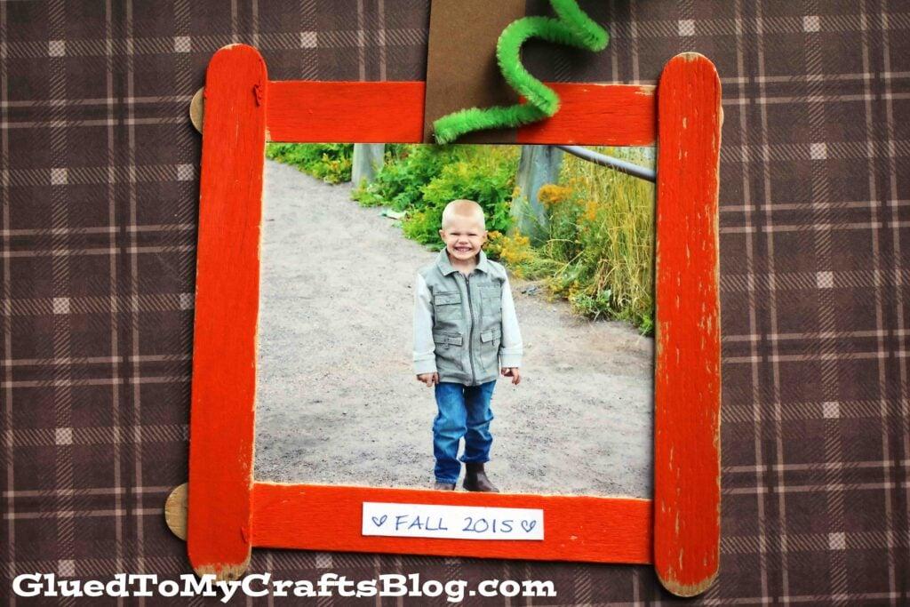 Popsicle Stick Pumpkin Patch Frame - Kid Craft