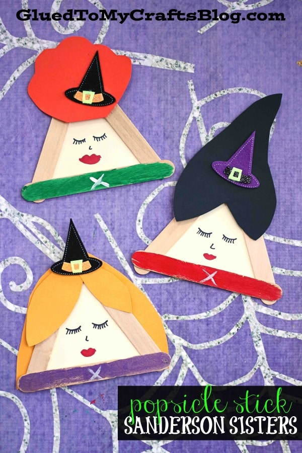 Popsicle Stick Sanderson Sisters - Hocus Pocus Kid Craft Idea