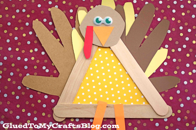 Popsicle Stick Turkey Friend Kid Craft For Thanksgiving