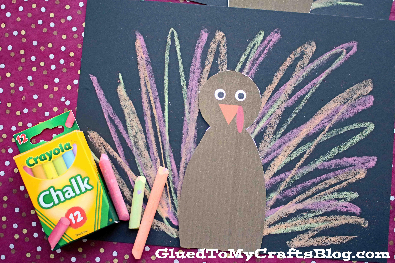 Paper Chalk Art Turkey Kid Craft For Thanksgiving