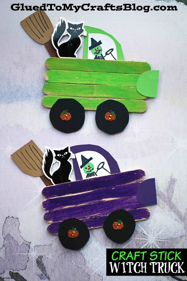 Craft Stick Witch Truck - Halloween Kid Craft Tutorial That Is Not Spooky!