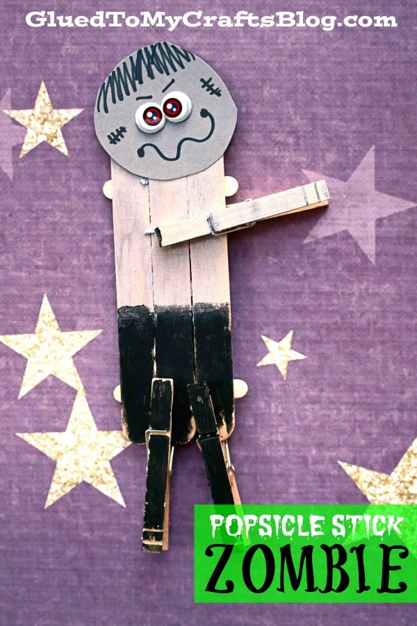 Craft Stick Zombie Puppet - Kid Craft Idea