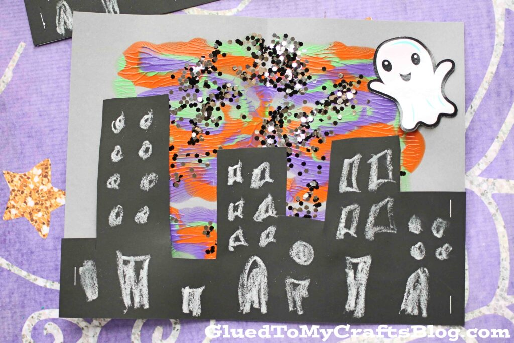 Paint Splat Halloween Town - Kid Craft